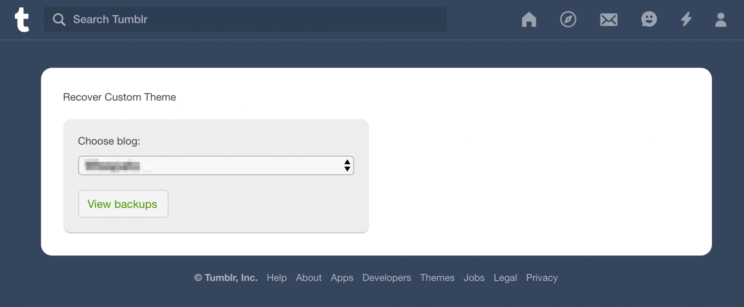 Recover your Tumblr Theme - Blog Selection