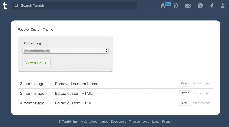 Recover your Tumblr Theme - Revert List