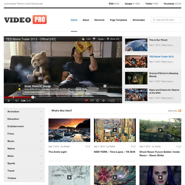 videopro 40 Free and Premium WordPress Themes – September 2012