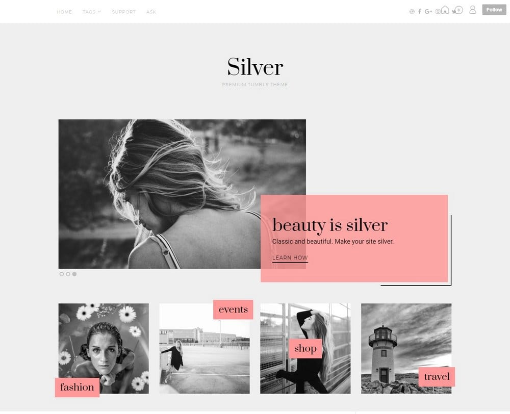 Tumblr Hipster Themes Part - 18: Silver u2013 Modern Hipster Tumblr Theme