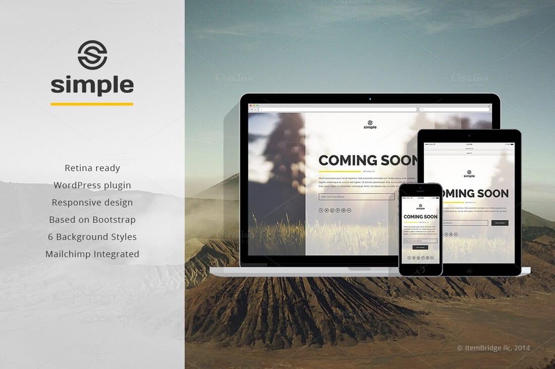 simple coming soon wordpress plugin