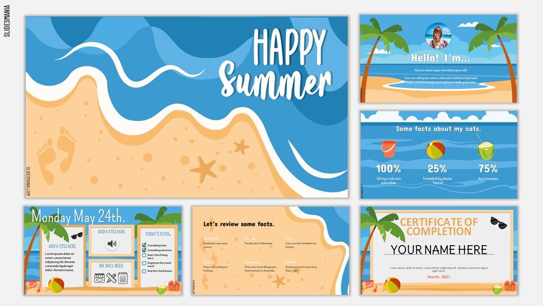 templat PowerPoint musim panas
