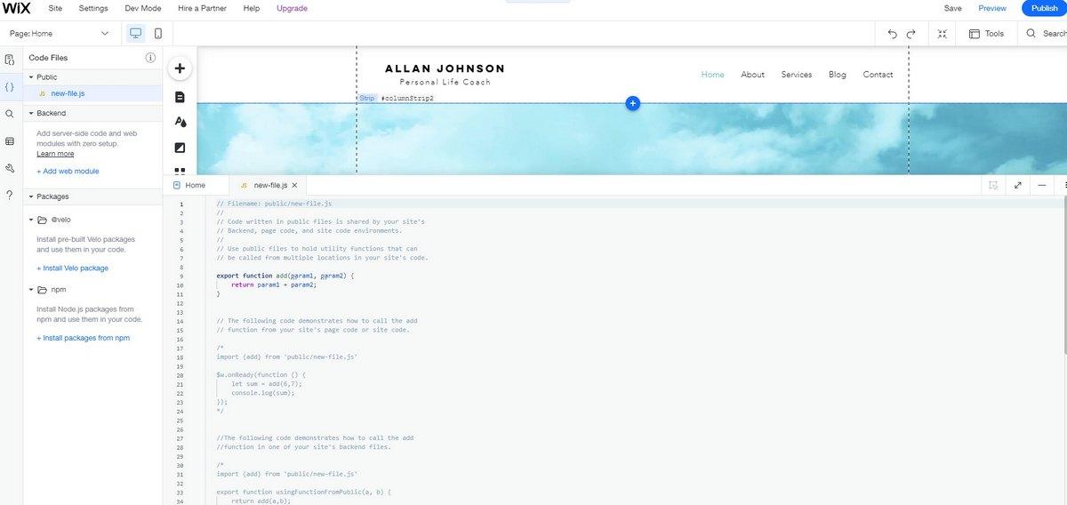 wix add code