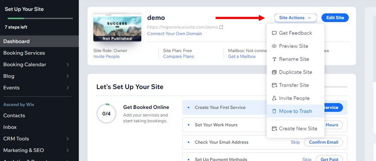 wix how to delete site 1